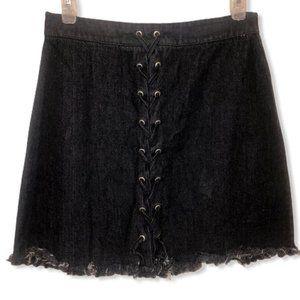 Fantastic Fawn Retro 90s Lace Up Black Denim Skirt